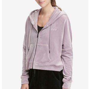 Pink DKNY Sport Velour Crop Hoodie - Medium (NWT)